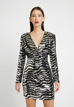 ZEBRA SEQUIN DRESS - Vestito elegante - silver