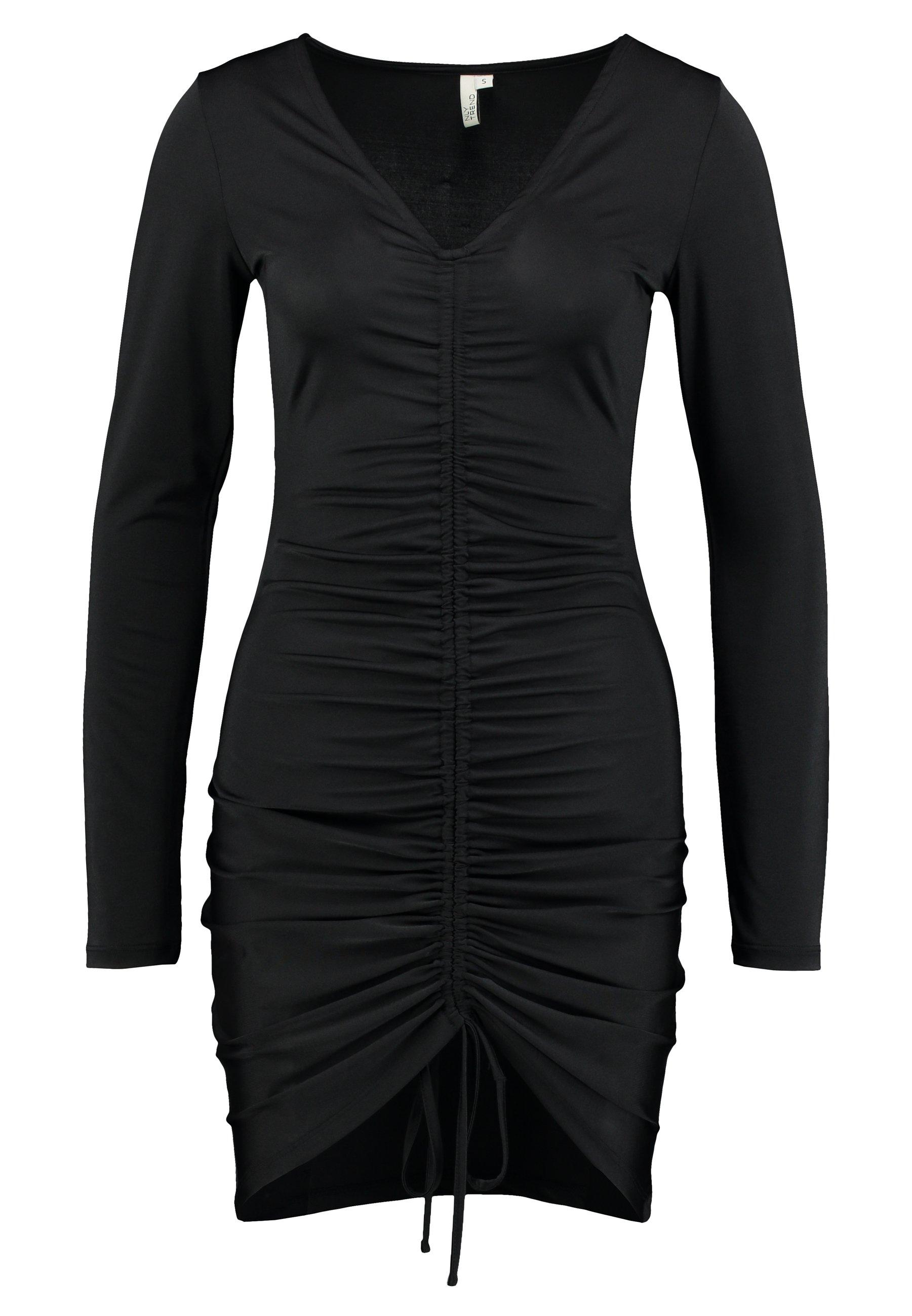 Nly by Nelly DRAWSTRING SLINKY DRESS - Sukienka koktajlowa - black
