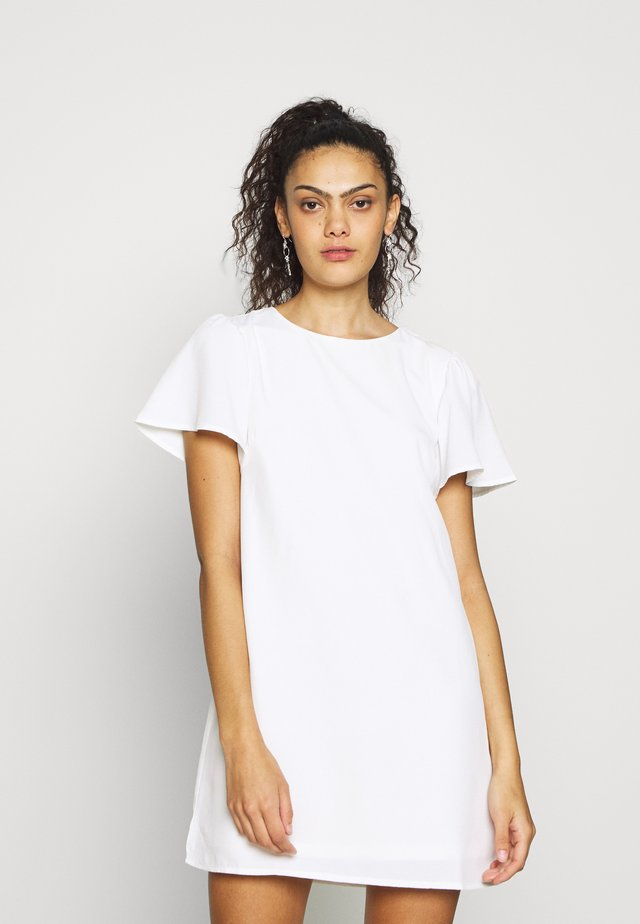 FRILL PUFF SLEEVE DRESS - Korte jurk - white