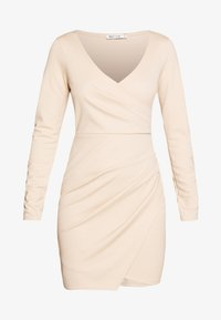 Nly by Nelly - LONG SLEEVE WRAP DRESS - Etui-jurk - beige - 4