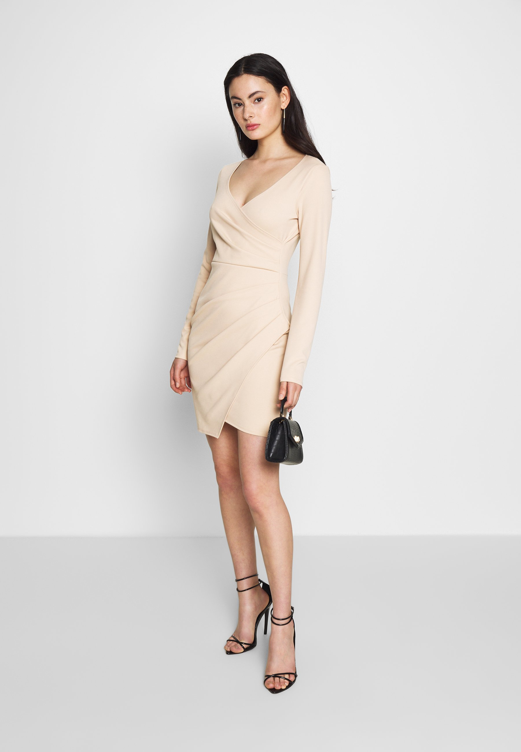 Nly by Nelly LONG SLEEVE WRAP DRESS - Tubino - beige