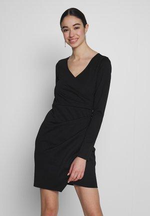 LONG SLEEVE WRAP DRESS - Pouzdrové šaty - black