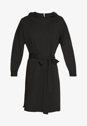 HOODIE BELT DRESS - Day dress - black