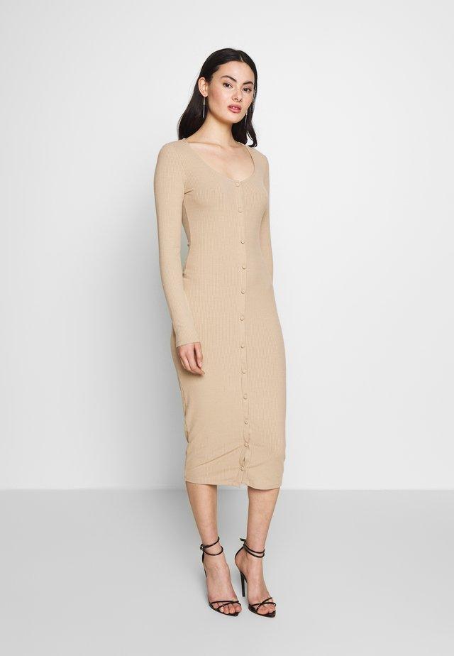 FRONT BUTTON DRESS - Fodralklänning - beige
