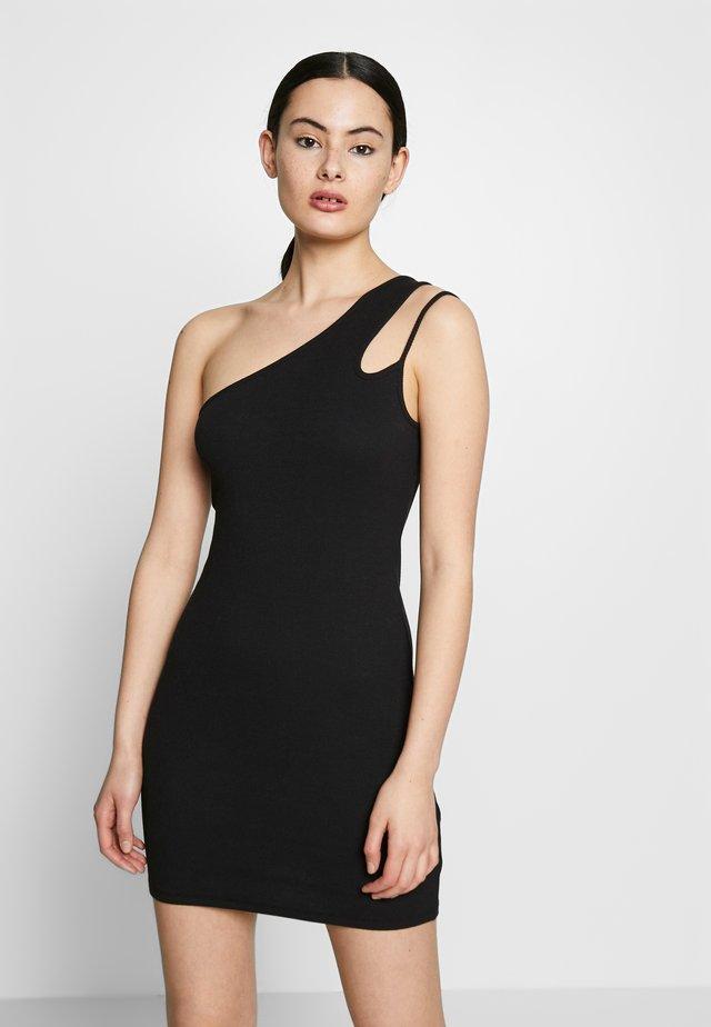 ONE SIDE DRESS - Robe fourreau - black