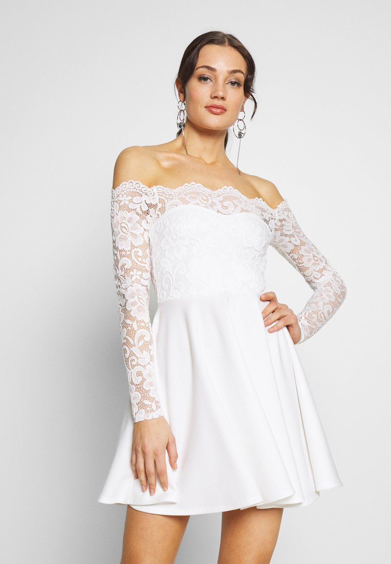 Nly by Nelly - LACE OFF SHOULDER SKATER - Juhlamekko - white