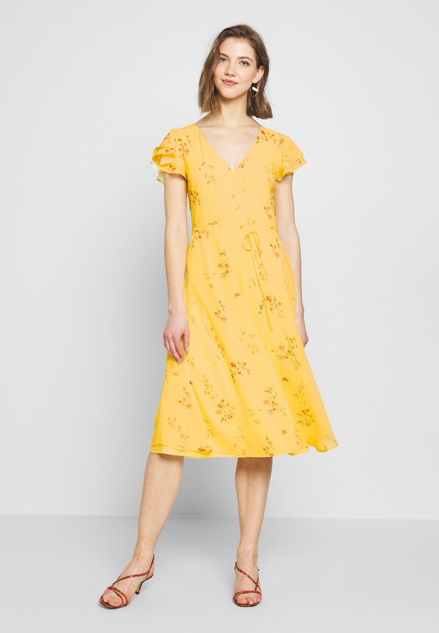 DOUBLE FLOUNCE MIDI DRESS - Occasion wear - yellow