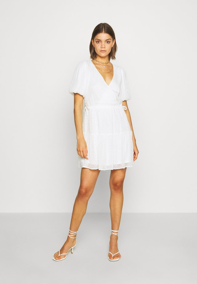 PUFF DOBBY DRESS - Day dress - white