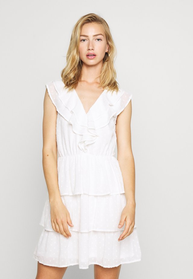 SHEER FRILL DOBBY DRESS - Cocktail dress / Party dress - white