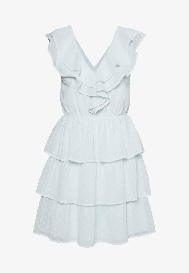 SHEER FRILL DOBBY DRESS - Vestido de cóctel - dusty blue