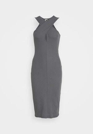 WRAP NECKLINE DRESS - Gebreide jurk - gray