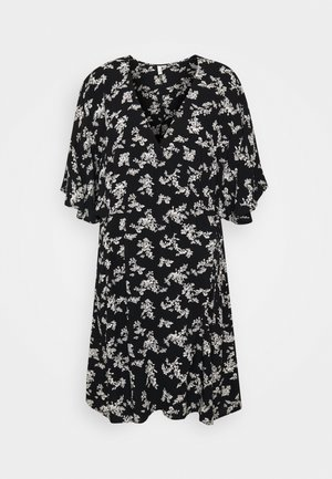 CUTE WRAP KIMONO DRESS - Vestito estivo - black