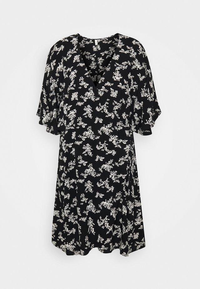 CUTE WRAP KIMONO DRESS - Robe d'été - black