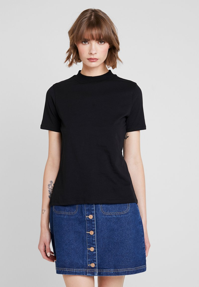 Nly by Nelly - HIGH NECK TEE - T-shirt basic - black