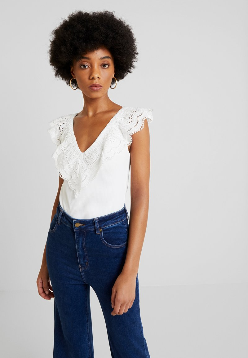 Nly by Nelly - COLLAR - Print T-shirt - white