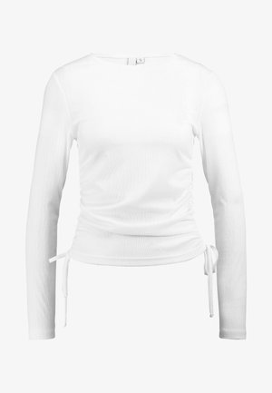 SHEER DRAWSTRING - Long sleeved top - white