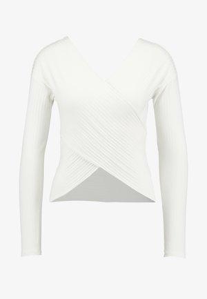 CRISS CROSS SHOULDER - Long sleeved top - white