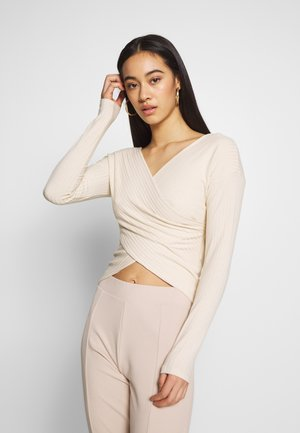 CRISS CROSS SHOULDER - Long sleeved top - beige