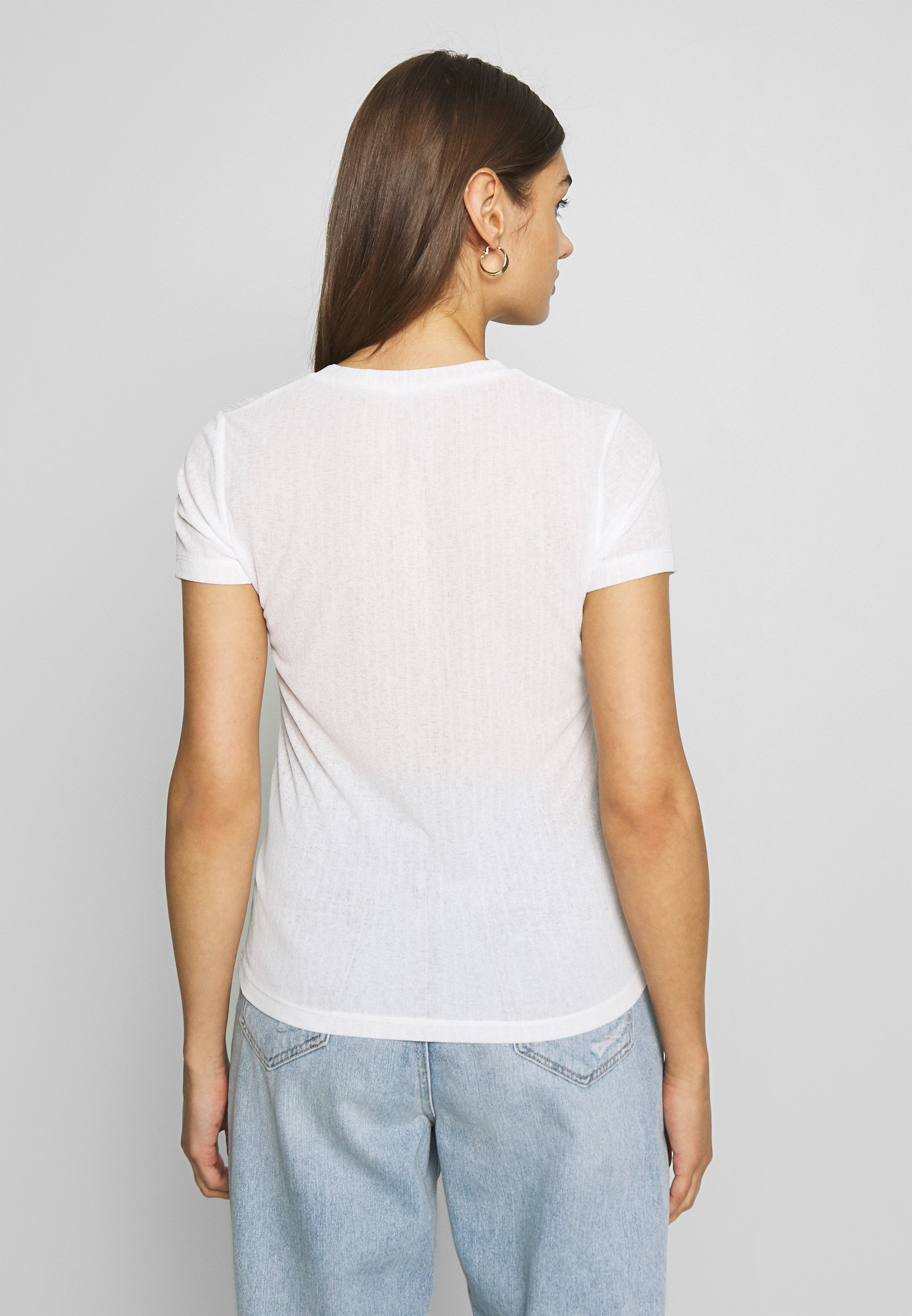 Nly by Nelly BUTTON TOP - T-shirt basic - white