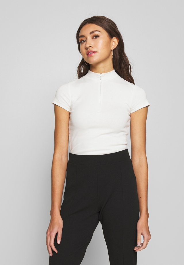 SPORTY ZIP TOP - Basic T-shirt - white