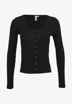 FRONT BUTTON TOP - Chaqueta de punto - black