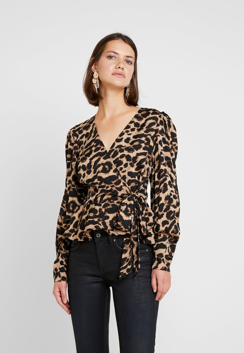 Nly by Nelly - VOLUME WRAP BLOUSE - Blouse - black/brown