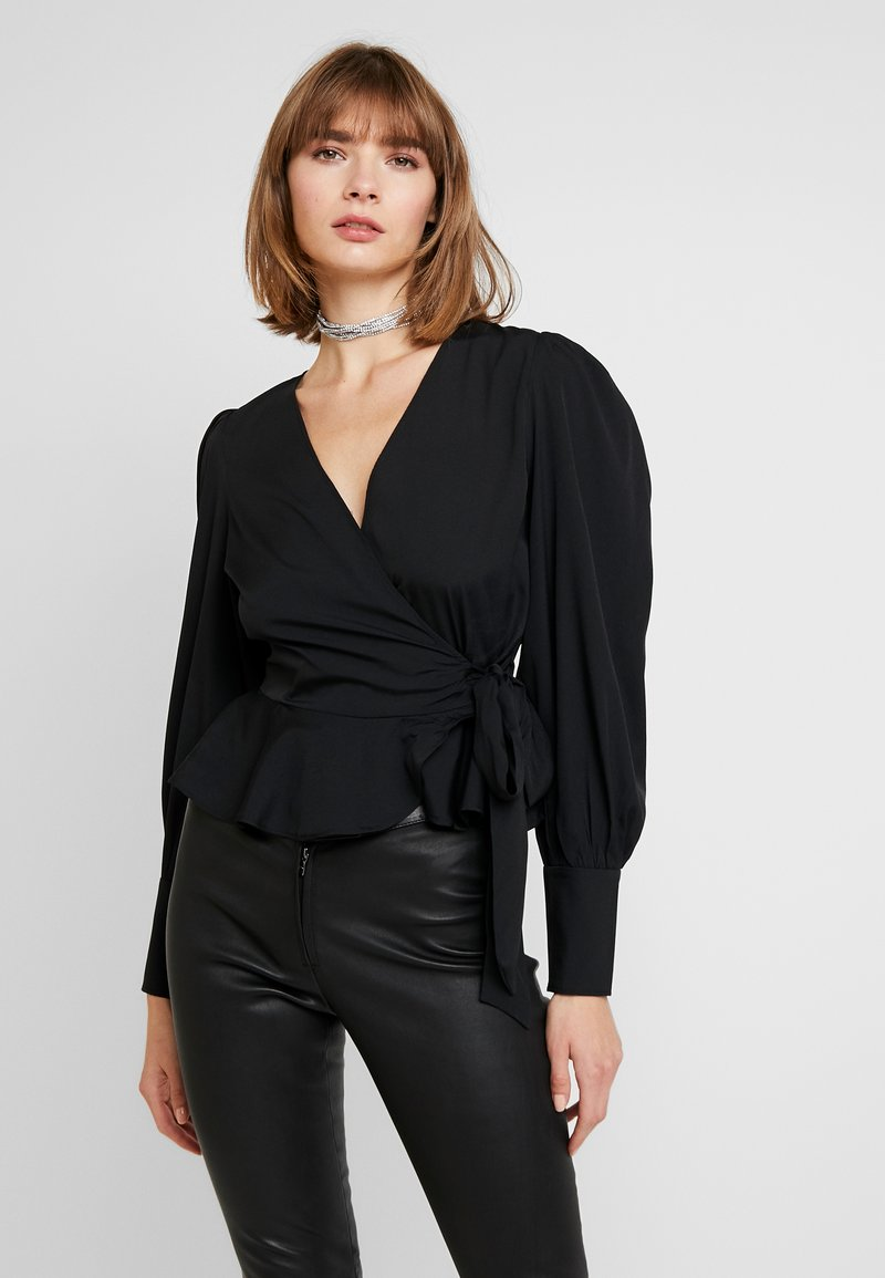 Nly by Nelly - VOLUME WRAP BLOUSE - Blouse - black