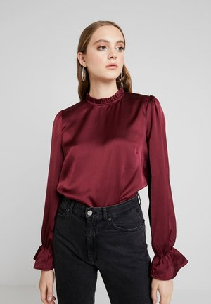 HIGH NECK BLOUSE - Bluser - burgundy