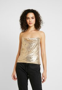 Nly by Nelly - DRAPED SEQUIN SINGLET - Topper - gold - 0