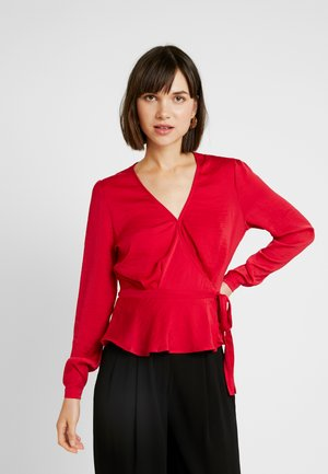 LOVELY WRAP BLOUSE - Pusero - red