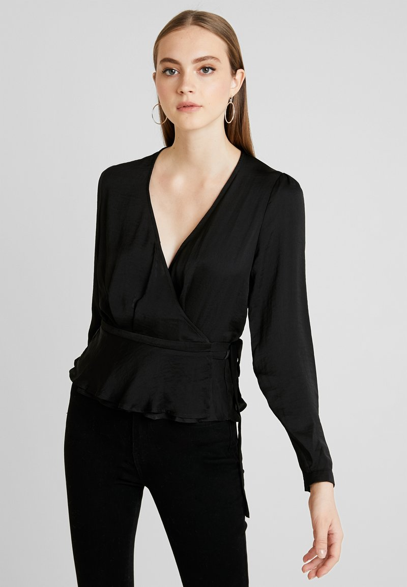 Nly by Nelly - LOVELY WRAP BLOUSE - Pusero - black