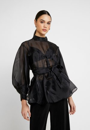 VOLUME ORGANZA BLOUSE - Bluser - black