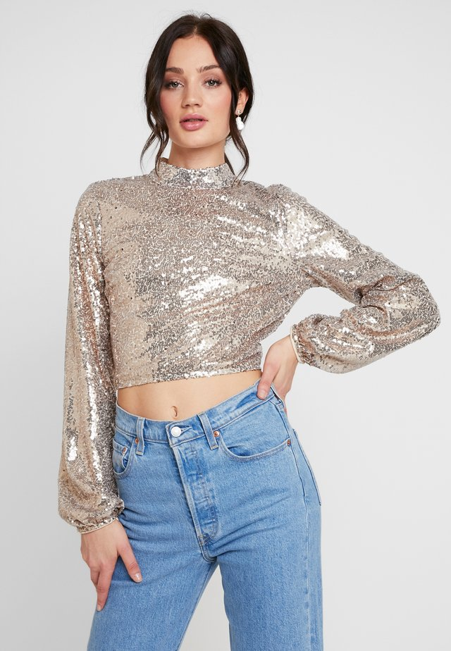 OPEN BACK SEQUIN - Blouse - champagne