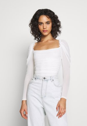 RUCHED BODYSUIT - Långärmad tröja - white