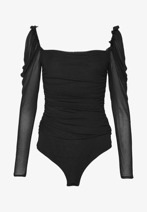 RUCHED BODYSUIT - Longsleeve - black