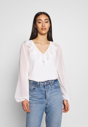 FRILL COLLAR BLOUSE - Bluser - white