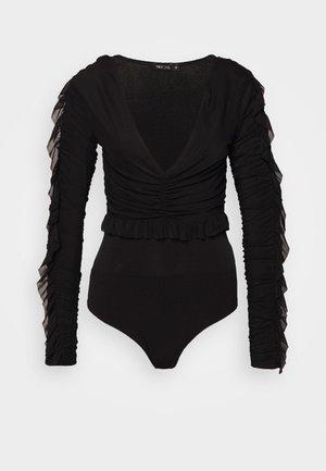RUFFLE BODY - Top sdlouhým rukávem - black