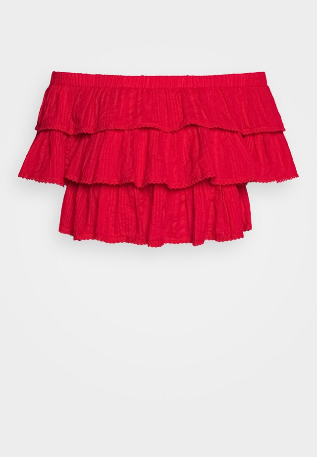 FRILL STRUCTURE - Blouse - red