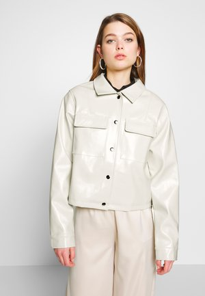 CROPPED DETAILED JACKET - Faux leather jacket - off-white