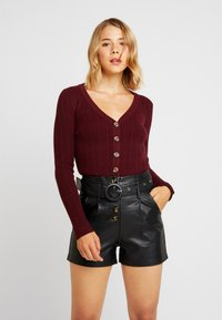 Nly by Nelly - CROPPED CARDIGAN - Chaqueta de punto - wine - 0