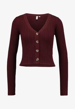 CROPPED CARDIGAN - Strickjacke - wine