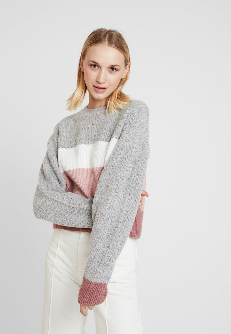 Nly by Nelly - BLOCK COLORED KNIT - Pullover - grey stripe