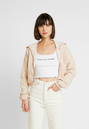 CROPPED ZIP HOODIE - veste en sweat zippée - beige