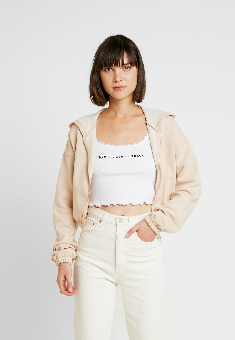 Nly by Nelly - CROPPED ZIP HOODIE - Mikina na zip - beige