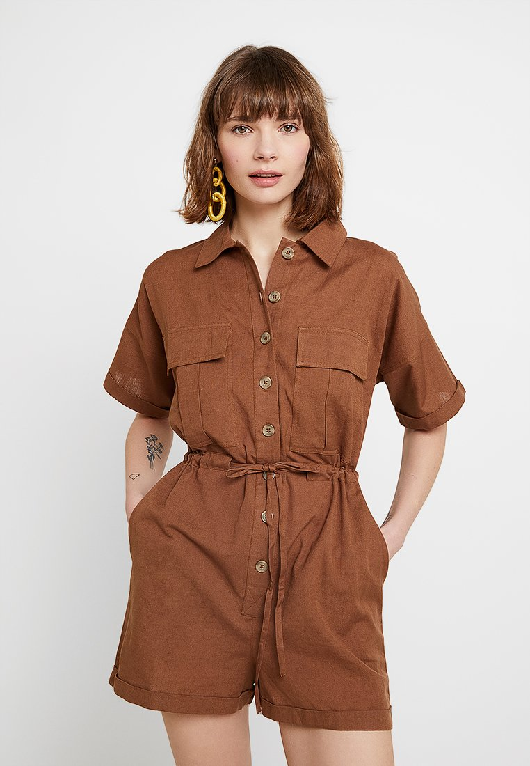 Nly by Nelly - WORKWEAR PLAYSUIT - Overal - brown