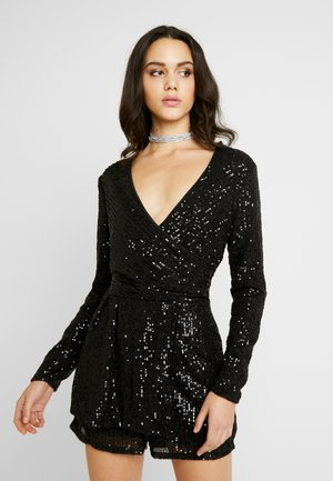 SEQUIN PLAYSUIT - Haalari - black