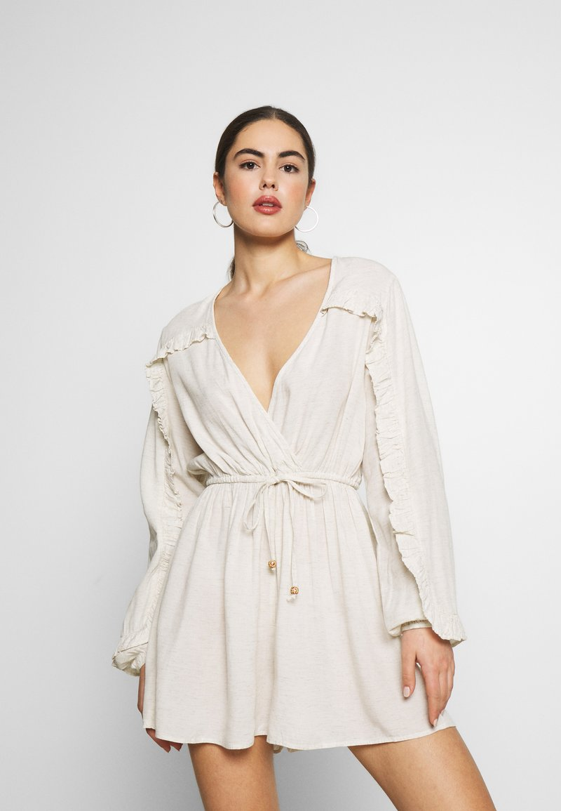 Nly by Nelly - BOHO FRILL PLAYSUIT - Jumpsuit - beige