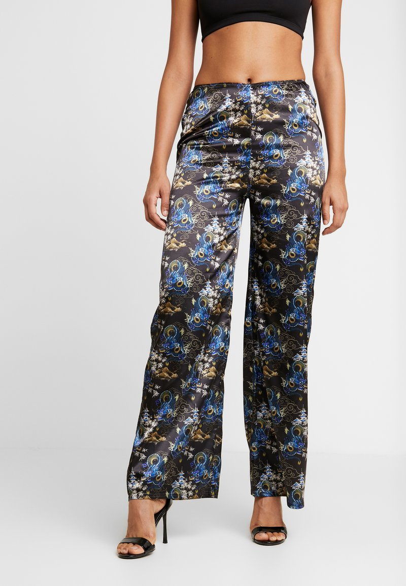 NEW girl ORDER - ORIENTAL PRINT TROUSERS - Tygbyxor - black