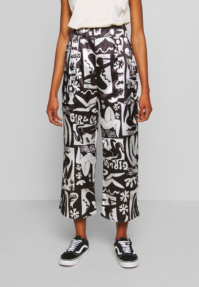 ABSTRACT TROUSERS - Tygbyxor - black/white