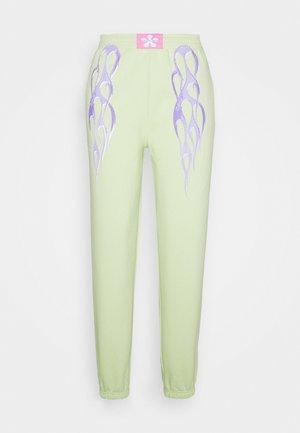 METALLIC TRIBAL FLAME JOGGERS - Teplákové kalhoty - green
